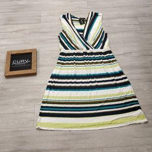 Merona Women's Size XL V-Neck Striped Midi Dress